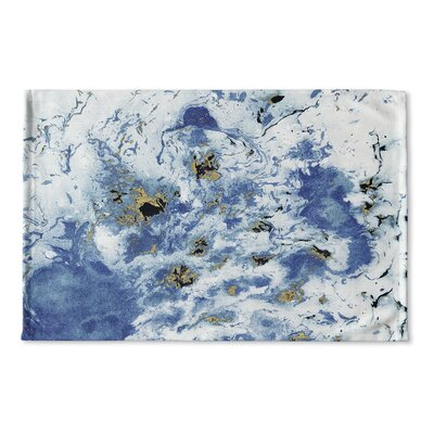 Wakulla Marbled Flat Weave Bath Rug Color: Blue