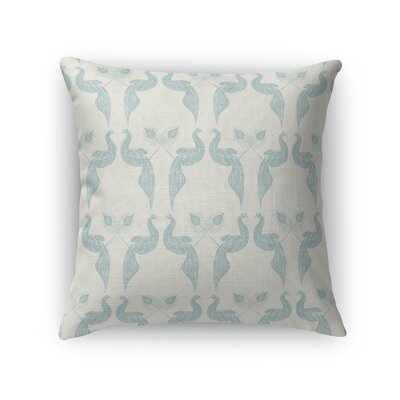 Singkil Peacock Queen Throw Pillow Color: Blue/Cream, Size: 18 x 18
