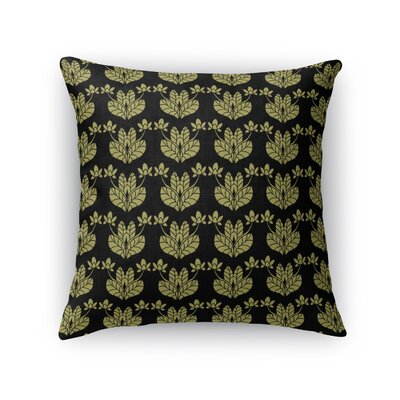 Jane Street French Flowers Throw Pillow Size: 18 x 18, Color: Gold/Black