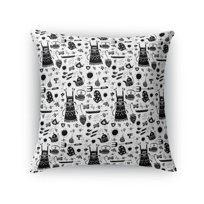 Merenich Teacups and Treasures Kitchen Throw Pillow Color: Black, Size: 16 x 16
