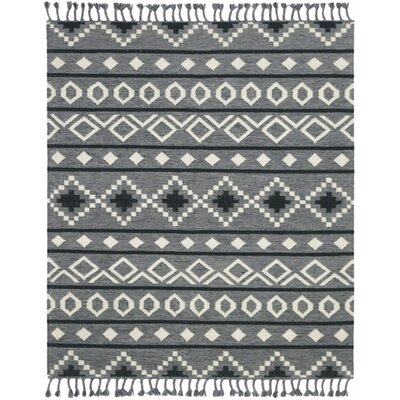 Oneil Handmade Kilim Wool Gray Area Rug Rug Size: Rectangle 8 x 10