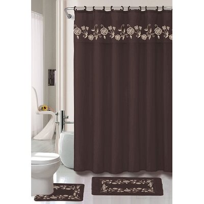 Kitts 18 Piece Shower Curtain Set Color: Chocolate
