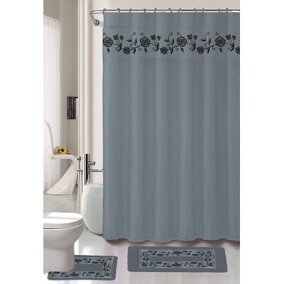 Kitts 18 Piece Shower Curtain Set Color: Silver