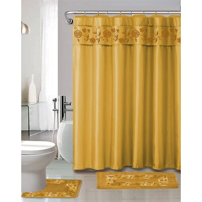 Kitts 18 Piece Shower Curtain Set Color: Gold