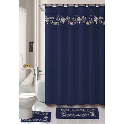 Kitts 18 Piece Shower Curtain Set Color: Navy
