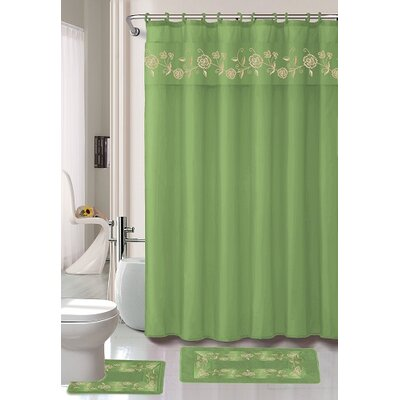 Kitts 18 Piece Shower Curtain Set Color: Green