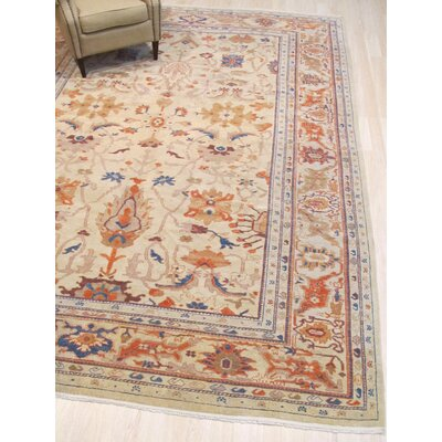One-of-a-Kind Emet Hand-Knotted Wool Ivory Area Rug