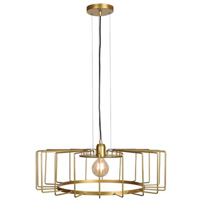 Mcelrath Horizontal Cage 1-Light Drum Pendant Finish: Gold