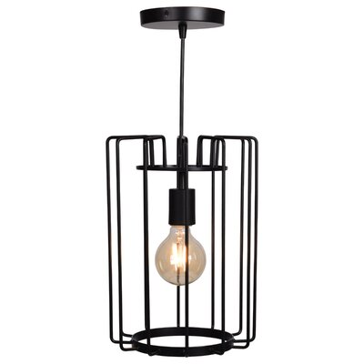 Mcelrath Vertical Cage 1-Light Foyer/Lantern Pendant Finish: Black