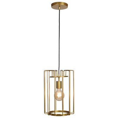 Mcelrath Vertical Cage 1-Light Foyer/Lantern Pendant Finish: Gold