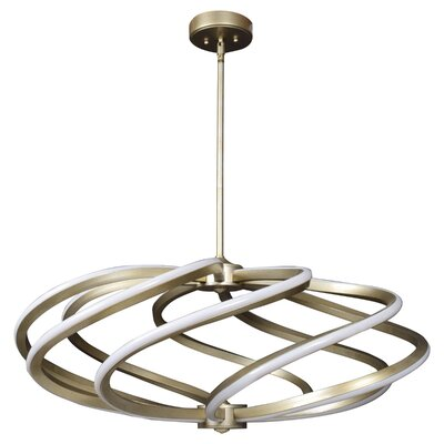 Wirrida LED Geometric Pendant Size: 15 H x 33 W x 33 D, Finish: Brushed Steel