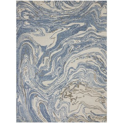 Konkol Hand-Tufted Wool Blue Area Rug Rug Size: Rectangle 86 x 116
