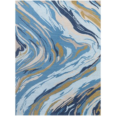 Konkol Hand-Tufted Wool Azure Blue Area Rug Rug Size: Rectangle 76 x 96