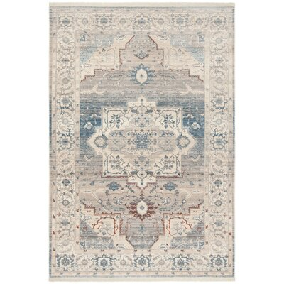 Volkman Vintage Persian Gray/Blue Area Rug Rug Size: Rectangle 4 x 6
