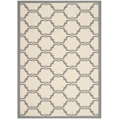 Plyler Tile Beige/Anthracite Indoor/Outdoor Area Rug Rug Size: Rectangle 53 x 77