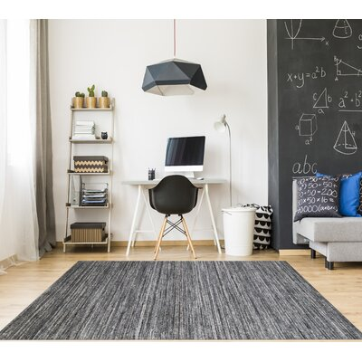 Holliman Hand-Woven Wool Dark Gray Area Rug Rug Size: Rectangle 9 x 12
