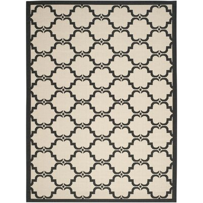Pogue Tile Beige/Black Indoor/Outdoor Area Rug Rug Size: Rectangle 4 x 57