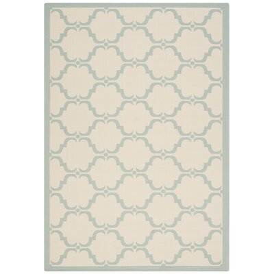 Plumley Tile Beige/Aqua Indoor/Outdoor Area Rug Rug Size: Rectangle 53 x 77