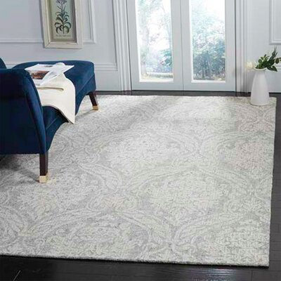 Vogler Abstract Hand-Tufted Wool Gray/Ivory Area Rug Rug Size: Rectangle 8 x 10