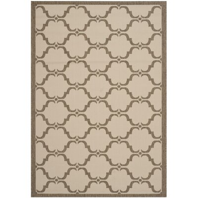 Plunkett Tile Beige/Brown Indoor/Outdoor Area Rug Rug Size: Rectangle 8 x 11