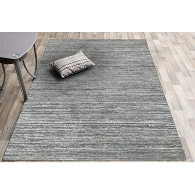 Holliman Hand-Woven Wool Silver Area Rug Rug Size: Rectangle 8 x 10
