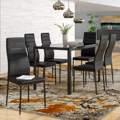 Renick Modern 7 Piece Dining Set Color: Black