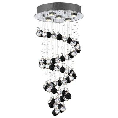 Eagan Raindrop 5-Light Crystal Chandelier Crystal: Black/Clear