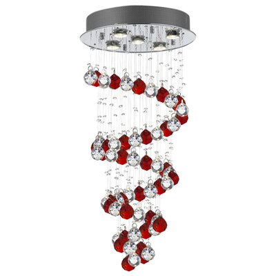 Eagan Raindrop 5-Light Crystal Chandelier Crystal: Red/Clear