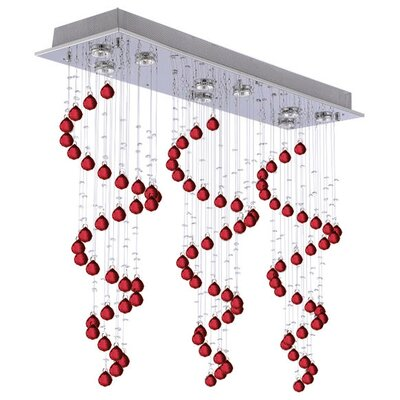 Sonawane Raindrop 9-Light Crystal Chandelier Crystal: Red