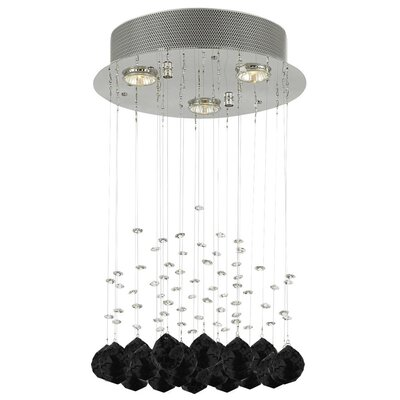 Bratt Raindrop 3-Light Crystal Chandelier Crystal: Black