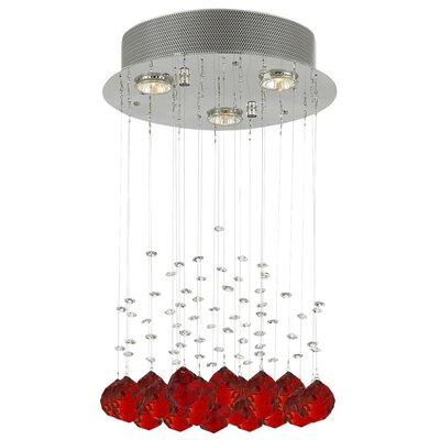 Bratt Raindrop 3-Light Crystal Chandelier Crystal: Red