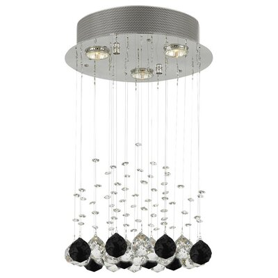 Bratt Raindrop 3-Light Crystal Chandelier Crystal: Black/Clear