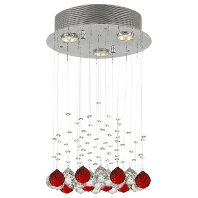 Bratt Raindrop 3-Light Crystal Chandelier Crystal: Red/Clear