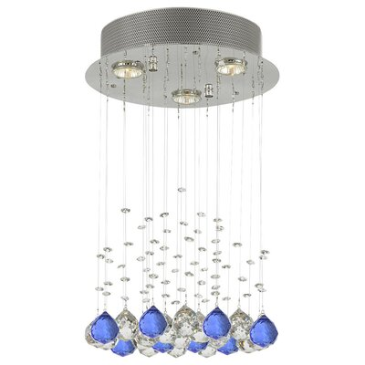 Bratt Raindrop 3-Light Crystal Chandelier Crystal: Blue/Clear