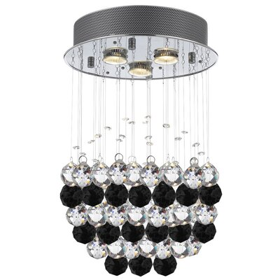 Bobrow Raindrop 3-Light Crystal Chandelier Crystal: Black/Clear