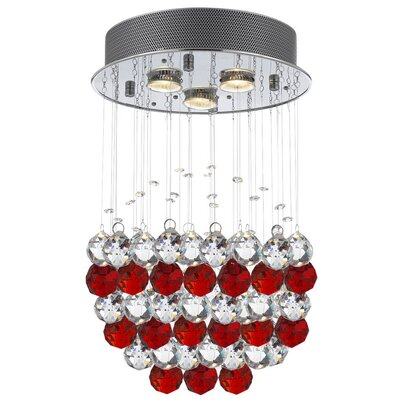 Bobrow Raindrop 3-Light Crystal Chandelier Crystal: Red/Clear