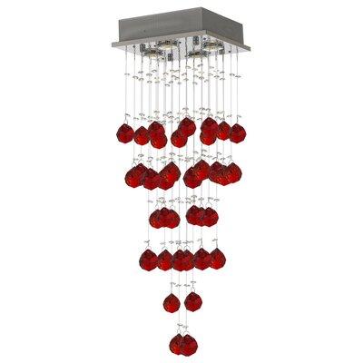 Vaudo Raindrop 4-Light Crystal Pendant Crystal: Red