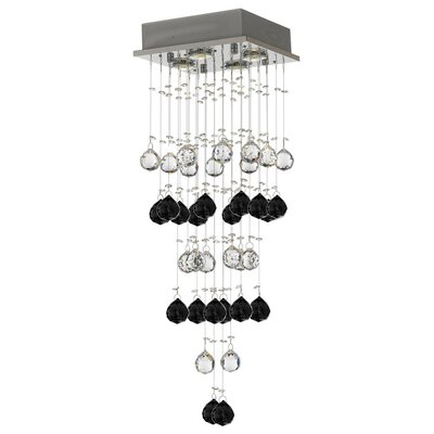 Vaudo Raindrop 4-Light Crystal Pendant Crystal: Black/Clear