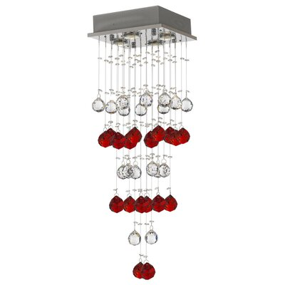 Vaudo Raindrop 4-Light Crystal Pendant Crystal: Red/Clear