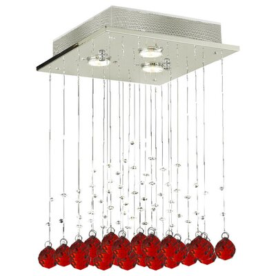 Shulman Raindrop 3-Light Crystal Chandelier Crystal: Red