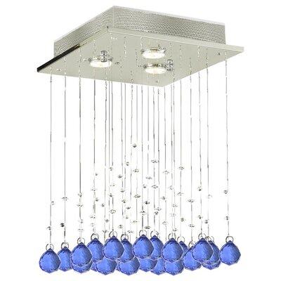 Shulman Raindrop 3-Light Crystal Chandelier Crystal: Blue