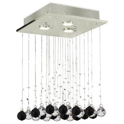 Shulman Raindrop 3-Light Crystal Chandelier Crystal: Black/Clear