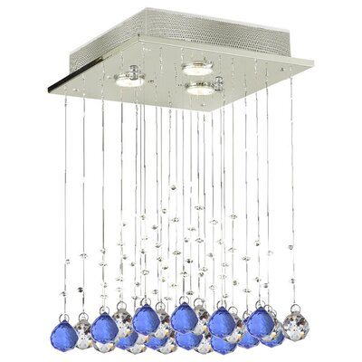Shulman Raindrop 3-Light Crystal Chandelier Crystal: Blue/Clear