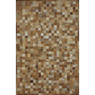 One-of-a-Kind Klahr Hand-Woven Cowhide Camel Area Rug Rug Size: Rectangle 5 x 8