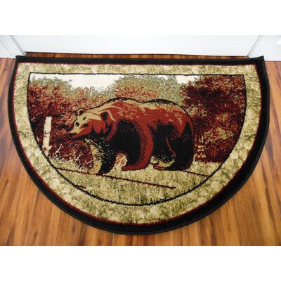 Vasques Majestic Bear Black/Dark Beige Indoor/Outdoor Area Rug Rug Size: Half Round 22 x 33