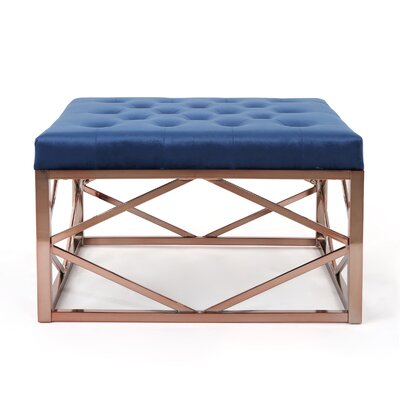 Hypes Cocktail Ottoman Upholstery: Navy Blue, Finish: Rose Gold