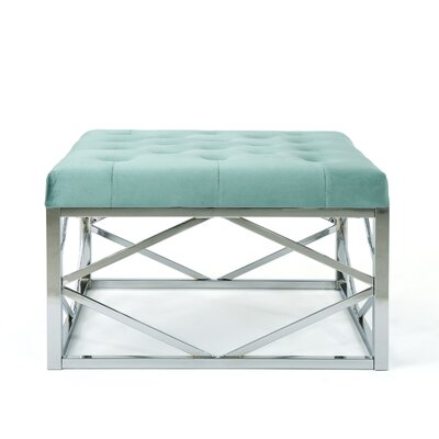 Hypes Cocktail Ottoman Upholstery: Turquoise, Finish: Chrome