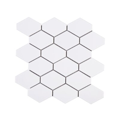 Handmade Diamond 4 x 4 Porcelain Tile in White