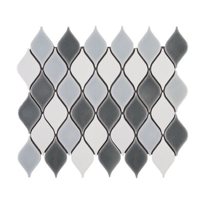 Handmade Water Drop 2.3 x 3.6 Porcelain Tile in Gray