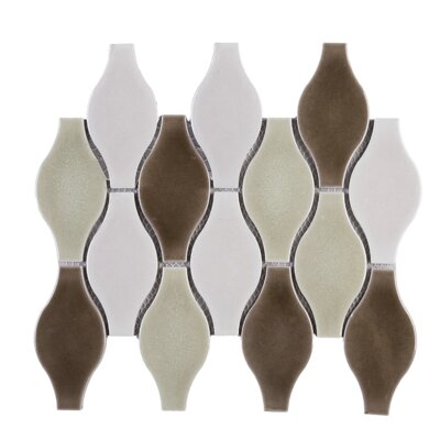 Handmade Bowling 4 x 5 Porcelain Tile in Brown/Beige